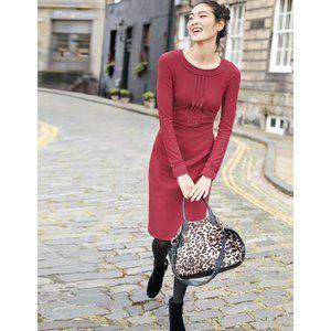 Boden Tall burgundy Gisele velvet trim ponte dress